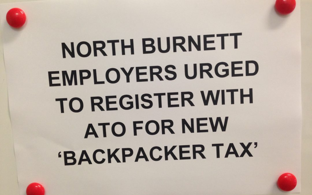 North Burnett employers urged to register with ATO for new 'backpacker tax'