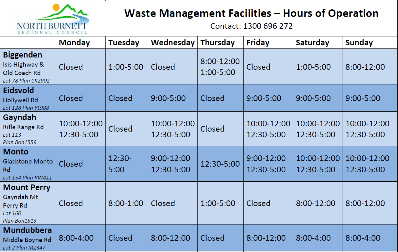 Waste Management Facilities – Hours of Operation | North