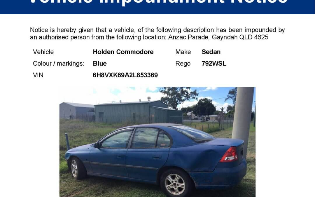 Vehicle Impoundment – Holden Commodore