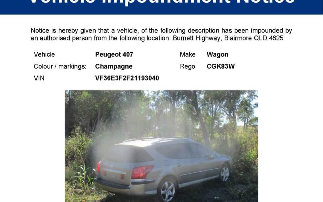 Vehicle Impoundment Notice – Peugeot 407