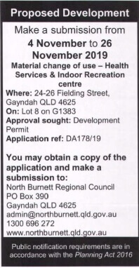 Material Change of Use for Health Services and Indoor Recreation Centre at 24-26 Fielding Street, Gayndah (Lot 8 on G1383)
