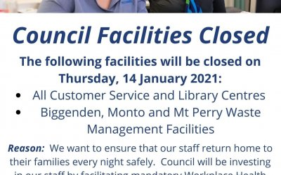 Community Notice – Council Facilities Closed, 14 January 2021